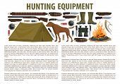 Hunting Equipment Infographic Template With Rifle And Gun, Fire And Tent, Dog And Knife. Concept Of  poster