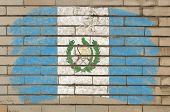 Flag Of Guatemala On Grunge Brick Wall Painted With Chalk
