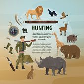 Vector Template With Wild Animals And Hunter. Vector Poster With Lion And Giraffe, Bear Or Bull, Duc poster