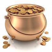 stock photo of pot gold  - Golden pot full of gold coins with dollar sign - JPG
