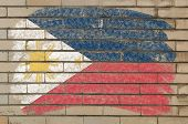 Flag Of Phillipines On Grunge Brick Wall Painted With Chalk