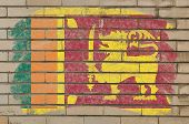 Flag Of Srilanka On Grunge Brick Wall Painted With Chalk