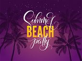 Summer Beach Party Typography. Tropical Poster With Night Sky And Palm Tree. Vector Illustration For poster