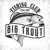 Fishing Club Vintage Logo Design, Emblem Of The Trout Fishermen, Grange Print Stamps, Fisher Typogra poster