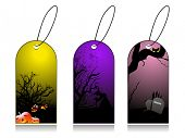 dry tree, pumpkin and gravestone concept set of halloween tag