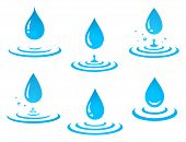 Set Of Blue Graphic Isolated Falling Water Drop Icons And Splash On White Background poster