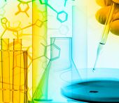 Researcher With Petri Dish And Science Lab Glass Equipment Over Structural Chemical Formula - Resear poster