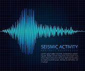 Earthquake Frequency Wave Graph, Seismic Activity. Vector Abstract Scientific Background. Diagram Se poster