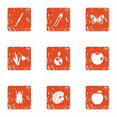 Weather Climate Icons Set. Grunge Set Of 9 Weather Climate Vector Icons For Web Isolated On White Ba poster