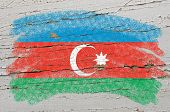 Flag Of Azerbaijan On Grunge Wooden Texture Painted With Chalk