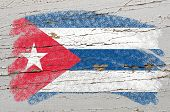 Flag Of Cuba On Grunge Wooden Texture Painted With Chalk
