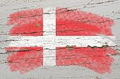 Flag Of Denmark On Grunge Wooden Texture Painted With Chalk