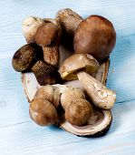 Arrangement Of Fresh Boletus Mushrooms In Wicker Straw Box Closeup On Wooden Plate. Selective Focus poster