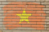 Flag Of Vietnam On Grunge Brick Wall Painted With Chalk