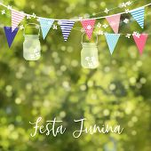 Brazilian June Party, Festa Junina. String Of Lights, Colorful Flags, Jar Lanterns. Party Decoration poster