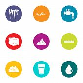 Water Area Icons Set. Flat Set Of 9 Water Area Vector Icons For Web Isolated On White Background poster
