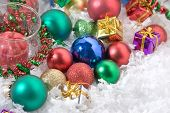 pic of christmas ornament  - Diverse Christmas ornaments. Balls gifts and candles.