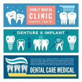 Horizontal Banners For Dental Clinic With Illustrations Of Teeth. Dental Tooth Clinic Banner, Equipm poster