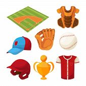 Baseball Cartoon Icons Set Isolate On White. Sport Ball For Game, Cartoon American Softball, Cap And poster