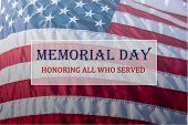 Text Memorial Day And Honor On Flowing American Flag Background poster