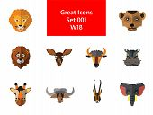 Animal Faces Icon Set. Lion Head Zebra Hippo Head Giraffe Lion Face Wolf Elephant Antelope Head Meer poster