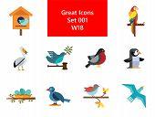 Birds Icon Set. Birdhouse Nest With Eggs Bullfinch Bird Sitting On Branch Blue Bird Dove With Olive  poster