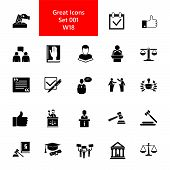 Icon Set Of Jurisprudence Signs. Court, Juridical System, Election Campaign. Law Concept. For Topics poster