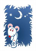 image of pack-rat  - Stylized timid mouse on a dark blue ornate background - JPG
