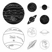Neptune, Mars, Saturn, Uranus Of The Solar System. Planets Set Collection Icons In Black, Outline St poster