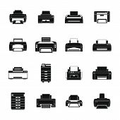 Printer Office Copy Document Icons Set. Simple Illustration Of 16 Printer Office Copy Document Vecto poster