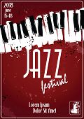 Jazz Music Festival, Poster Background Template. Keyboard With Music Notes. poster