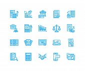 Financial Accounting Flat Line Icons. Bookkeeping, Tax Optimization, Firm, Accountant Outsourcing, P poster