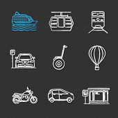 Постер, плакат: Public Transport Chalk Icons Set Modes Of Transport Cruise Ship Funicular Train Parking Zone H