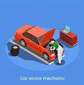 Worker Professions Isometric Background With Human Character Of Automotive Repairman Motor Vehicle M poster