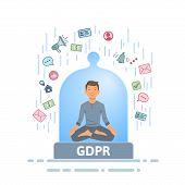 Gdpr Serenity. Meditating Man Feeling Safe From Information Stream Inside Of Glass Dome. Flat Vector poster