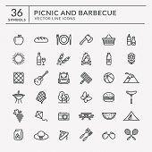 Picnic And Barbecue Web Icons. Set Of Black Outline Symbols For A Summer Outdoor Recreation Theme. V poster