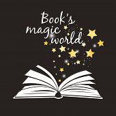 Books Magic World Poster. Open Book With White Pages And Golden Magical Asterisks Vector Illustratio poster