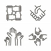 Set Of Hand Icons Representing Partnership, Community, Charity, Teamwork, Business, Friendship And C poster