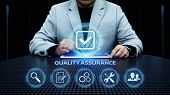 Quality Assurance Service Guarantee Standard Internet Business Technology Concept. poster