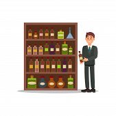 Man In Formal Suit Standing Near Shelf With Alcoholic Beverages. Vendor Holding Bottle Of Vine. Liqu poster