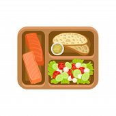 Illustration Of Brown Tray With Tasty Food. Salmon Fish, Bread With Sauce And Fresh Vegetable Salad. poster