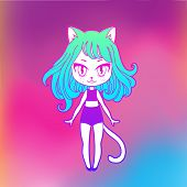 Cute Vector Illustration. Kawaii Anime Girl Cat. Big Eyes. Use For Postcards, Print On Clothes Or De poster