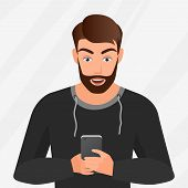 Vector Portrait Of Surprised Handsome Young Man With Mobile Phone poster