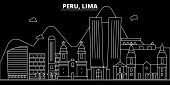 Peru Silhouette Skyline, Vector, City, Peruvian Linear Architecture, Buildings. Peru Travel Illustra poster