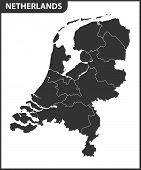 The Detailed Map Of Netherlands With Regions. Administrative Division. poster