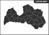 The Detailed Map Of Latvia With Regions Or States. Administrative Division poster