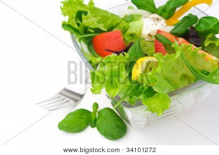 Healthy vegetarian Salad over white