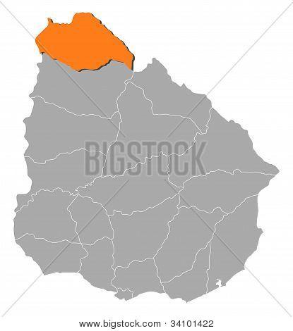 Map Of Uruguay, Artigas Highlighted