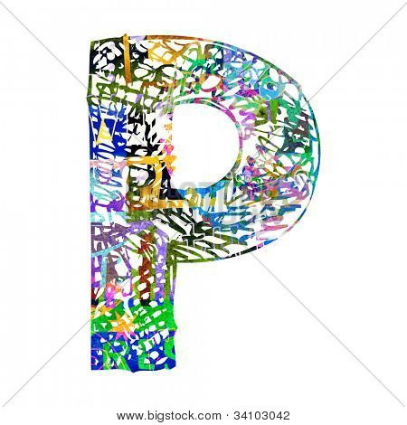 scribble ABC, childlike letter P isolated on white background