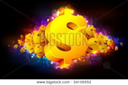 illustration of gold dollar symbol on abstract background